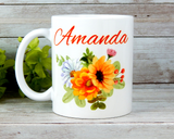 personalized mug with orange flowers