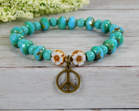 peace sign bracelet for hippie turquoise jewelry
