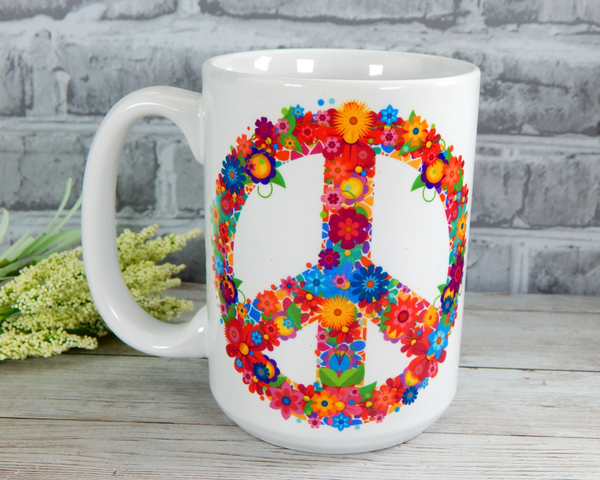 Peace and Love Coffee Mug - Peace Sign Coffee Cup
