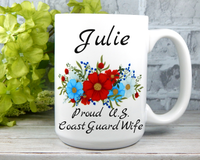 Personalized Coast Guard - Coast Guard Wife Gifts - Military Mugs for Wives
