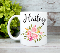 personalized mug with pink flowers