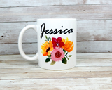 personalized mug with flowers