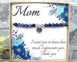 Personalized Mom Gift - Gift From Daughter - Engraved Jewelry for Mom - Blue Bracelet for Mothers Day Gift