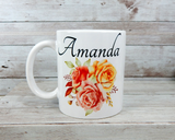 personalized mug with roses