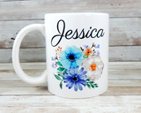 mug with name and blue flowers