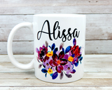 personalized purple flower coffee mug