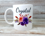 personalized coffee mug with flowers