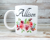 pink flower personalized mug