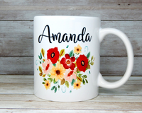 personalized mug with poppies