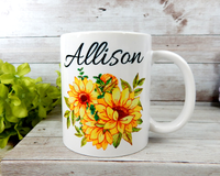 personalized sunflower mug