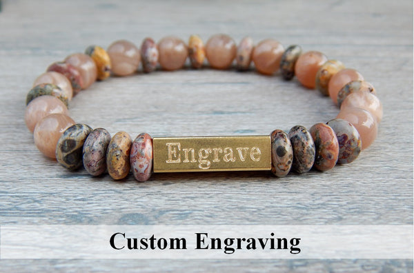 Sunstone and Jasper Beaded Bracelet - Engraved Jewelry