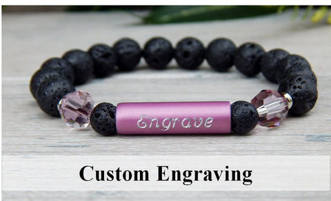 pink beaded lava bracelet engraved jewelry