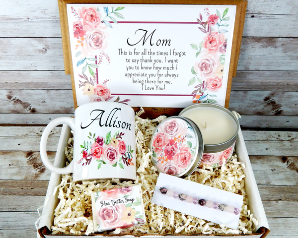 pink mom gift basket for mothers day