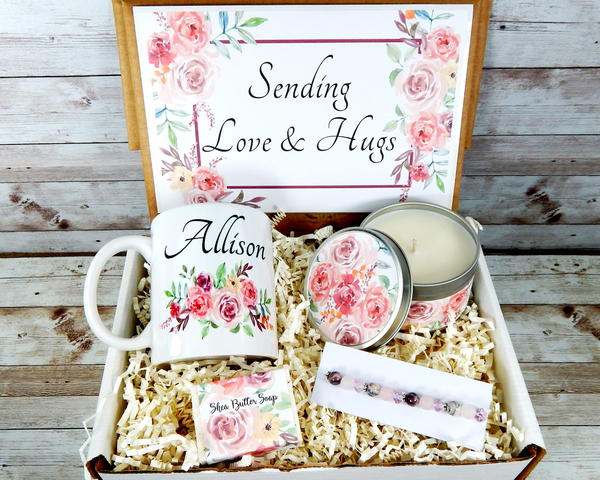 pink sending love and hugs gift basket