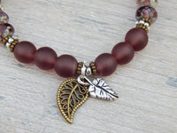 leaf bracelet with plum matte glass beads