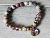 pink purple bead boho gemstone bracelet