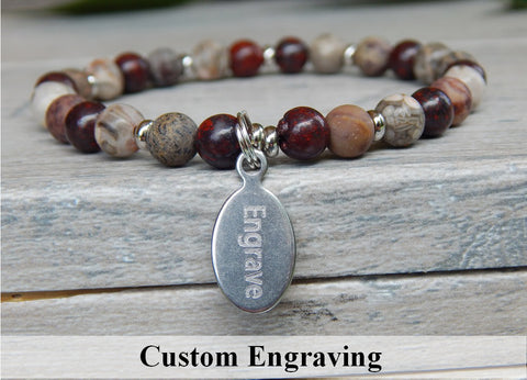 natural gemstone bracelet engraved charm jewelry