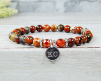 engraved poppy jasper gemstone bracelet