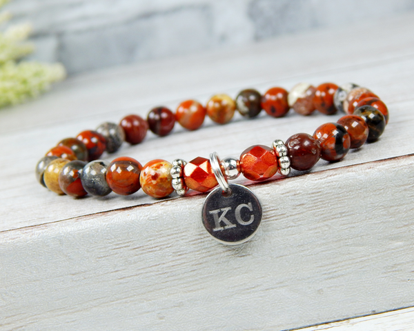 initial charm bracelet personalized gift for her red poppy jasper  jewelry