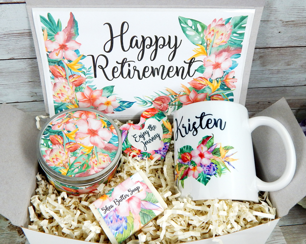 tropical personalized retirement gift basket