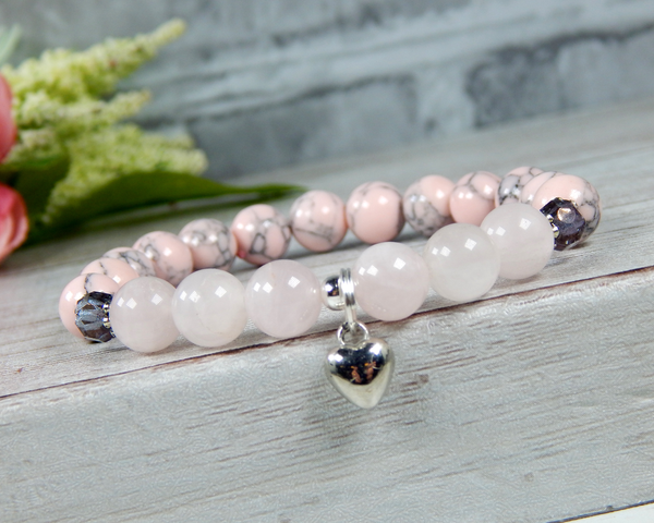 pink beaded bracelet for women heart charm