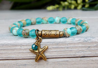 starfish charm bracelet with sea glass and gemstones