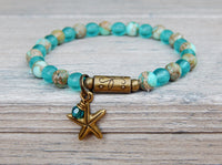 ocean bracelets with blue beads and starfish charm