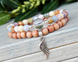 crystal quartz beaded spiritual angel wing bracelet