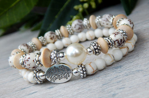 shabby chic beaded white bracelet