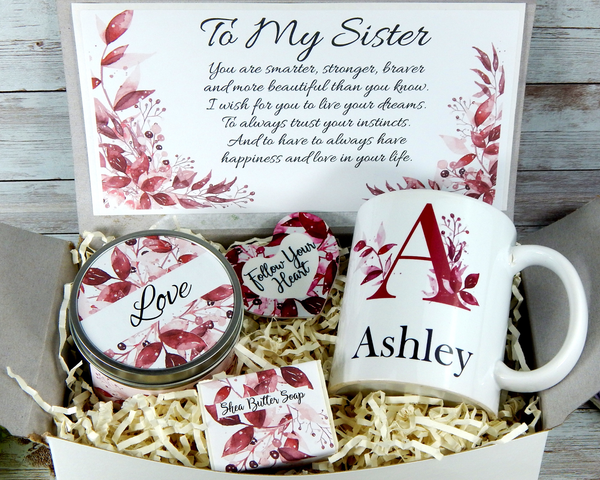 personalized initial name mug for sister gift basket