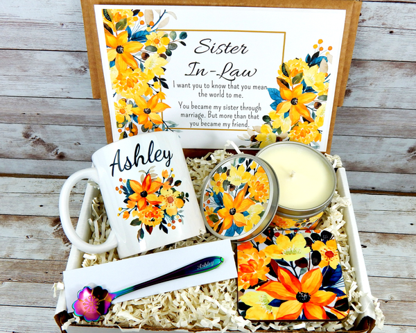 Yellow Flower Gift Basket For Sister In Law for Birthday with Personalized Coffee Mug
