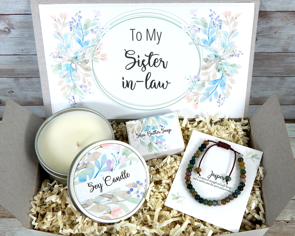 Gift for Sister In Law with Bracelet and Candle for Birthday