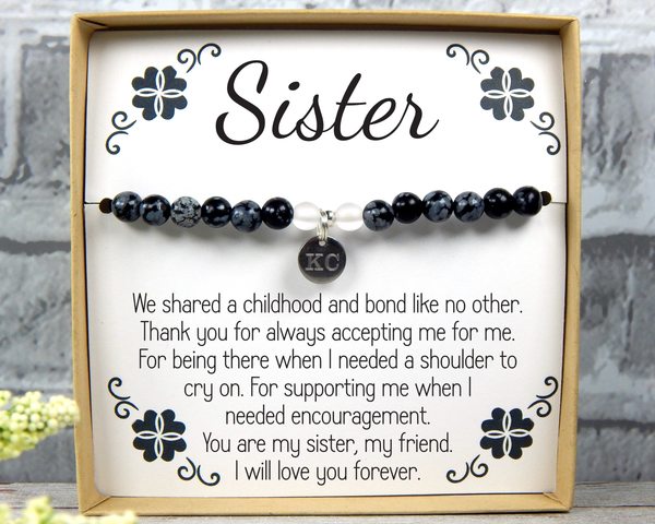 Sister Birthday Gift - Personalized Sisters Gift - Sister Jewelry - Custom Sister Bracelet