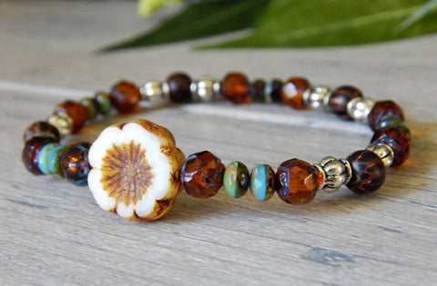 boho chic beaded nature bracelet