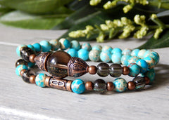 bohemian stacking bracelets blue beaded jewelry