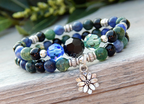 nature jewelry green and blue bracelets