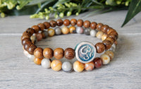om charm yoga bracelet set of 2 beaded wood and agate
