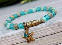 bracelet ocean inspired beaded with starfish charm