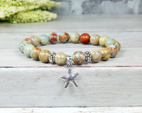 starfish bracelet ocean inspired jewelry blue beaded
