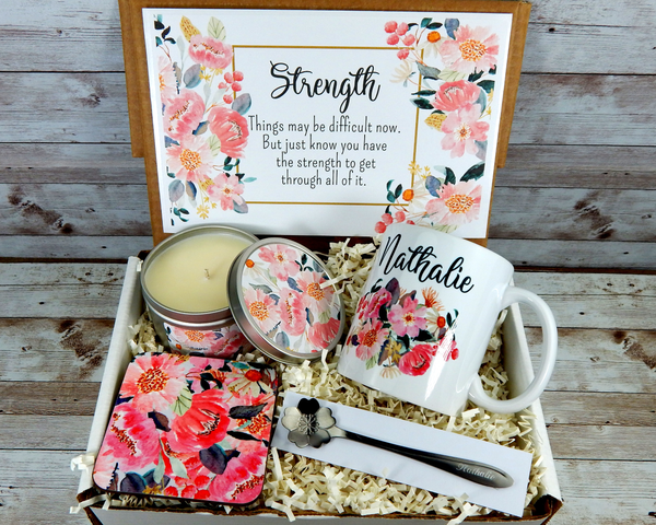 Pink Gift Basket for Strength with Personalized Coffee Mug