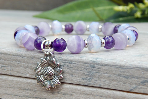 Purple Sunflower Bracelet with Amethyst Gemstones
