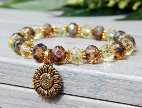 yellow crystal bracelet sunflower charm