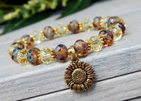 nature bracelet yellow crystal beads sunflower charm
