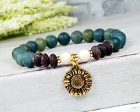 earthy jewelry nature bracelet sunflower charm