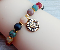 colorful gemstone bead bracelet nature jewelry