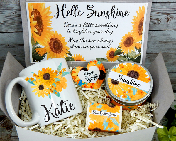 hello sunshine gift basket for women to send