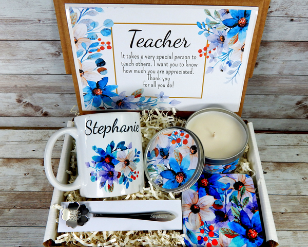 personalized teacher gift with coffee mug