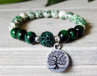 nature jewelry tree charm green gemstone beaded bracelets