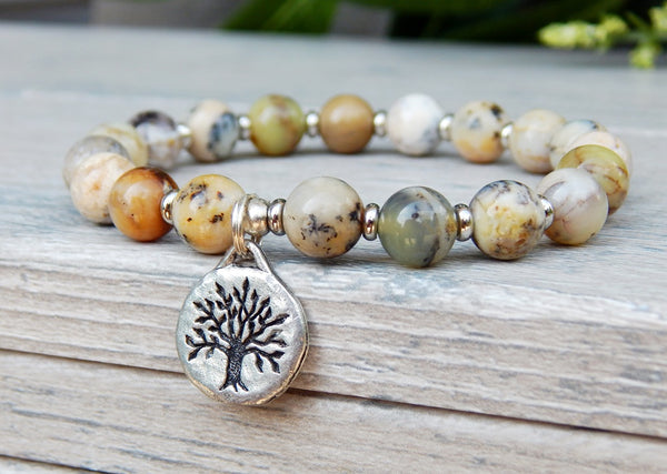 Natural Agate Beaded Bracelet with Tree of Life Charm