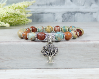 tree bracelet earthy blue jewelry handmade gemstone
